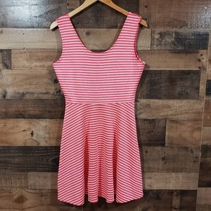 Derek Heart pink striped skater style tank dress